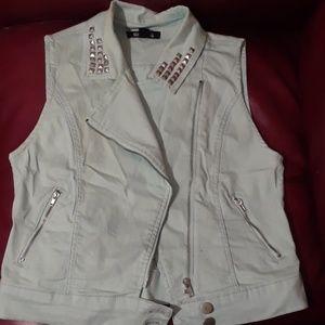 Light teal studded vest
